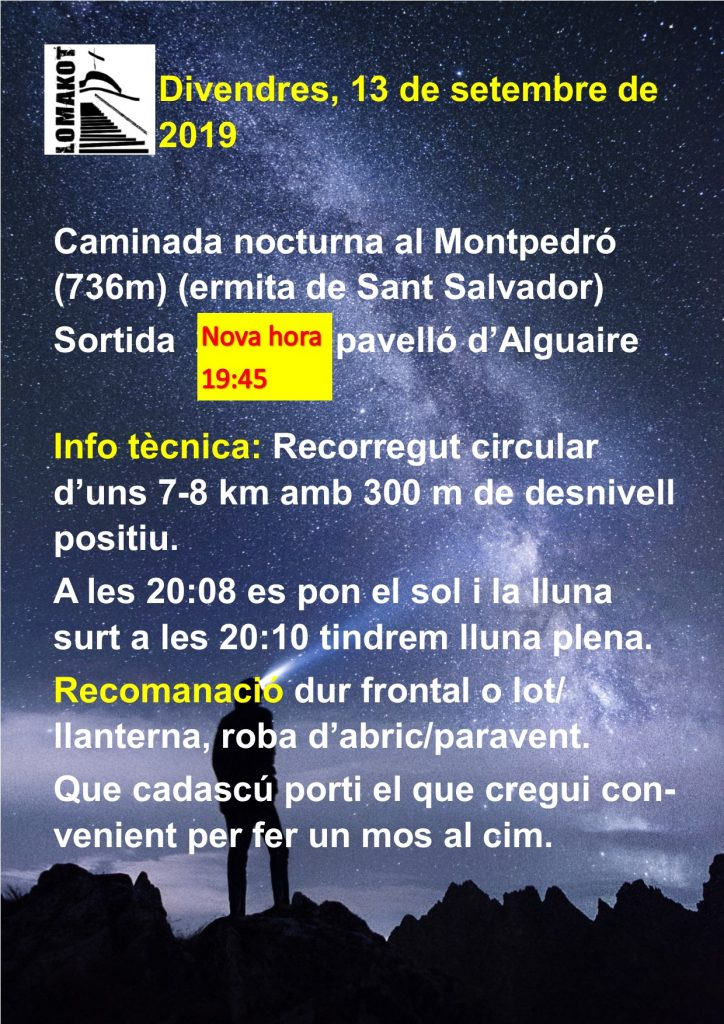 13/09/2019 pujada nocturna al Montpedró